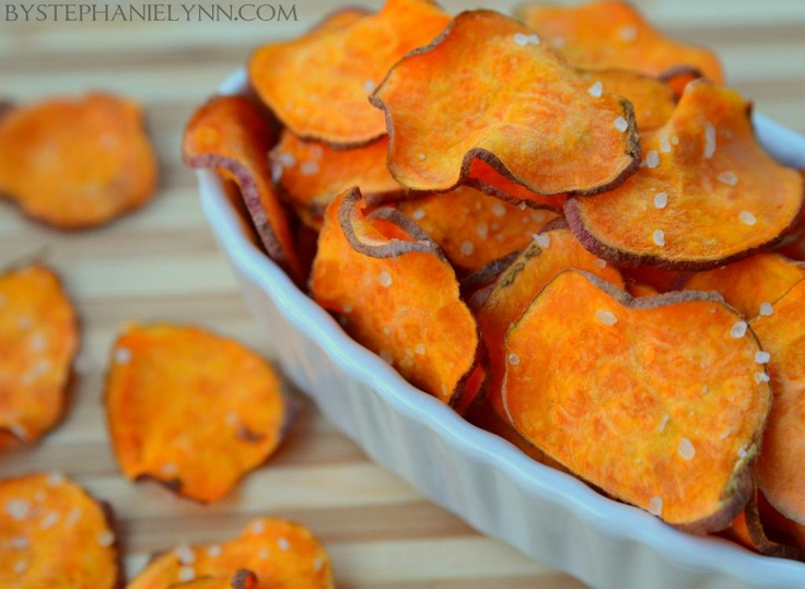 Under The Table and Dreaming: Homemade Sweet Potato Chips | Quick Microwave Snack Recipe  Change up the oil...and these would be perfect!