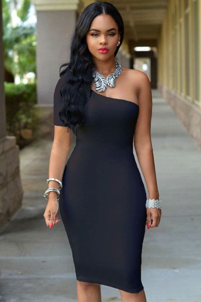 Classic Black Single Sleeve Shoulder Bodycon Mini Dress
