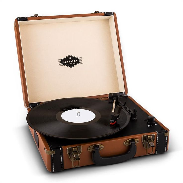 Auna Jerry Lee Retro Record Player Turntable LP USB Brown: Click to enlarge image!