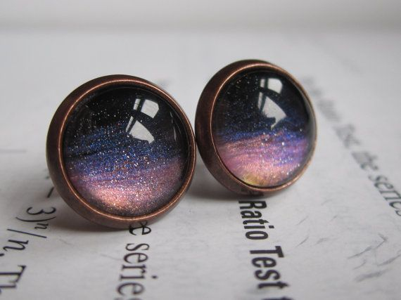 Sunset  Earring studs  science jewelry  by DarkMatterJewelry, $11.00