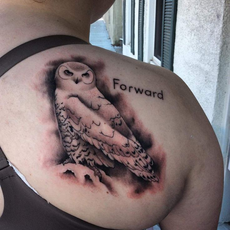 Snowy Owl still red and gnarly. Done by Natasha Greenwade from the Ashland Tattoo Shop in Ashland Nebraska