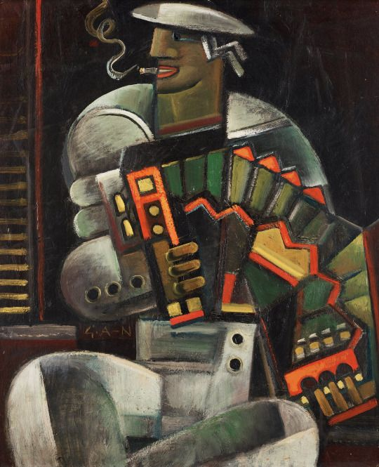 Gösta Adrian-Nilsson (Swedish, 1884-1965), Sjöman med dragspel [Sailor with accordion], 1922-23.  Thunderstruck