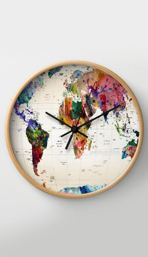 World map wall clock #product_design