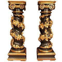 Pair Of 1stdibs Pedestals / Columns – 18Th Century Period Patinated Gilt Italian Louis Xvi Giltwood