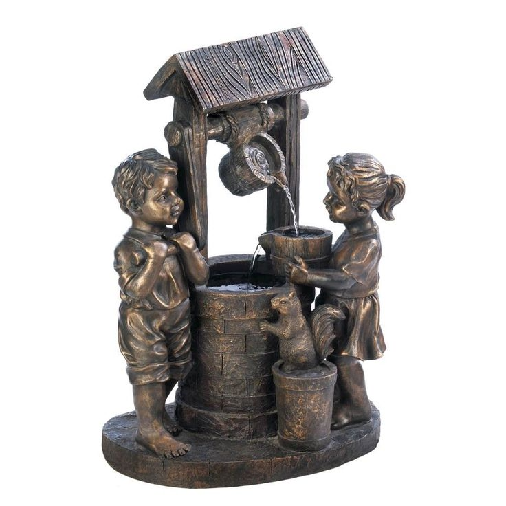 Outdoor Garden Patio Lawn Wishing Well Fountain Children Bucket Water Pump