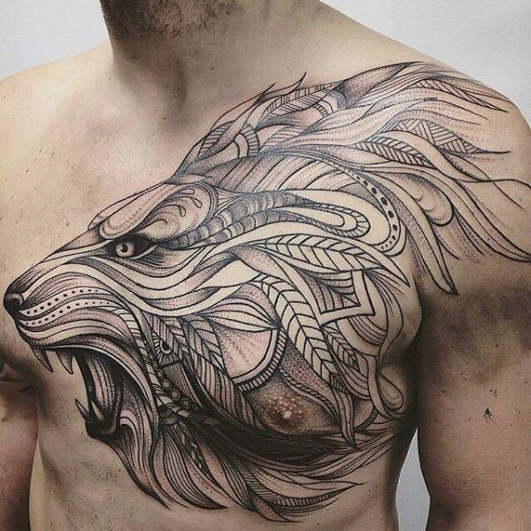 León pecho artístico. Animal, lion, chest tattoo on TattooChief.com