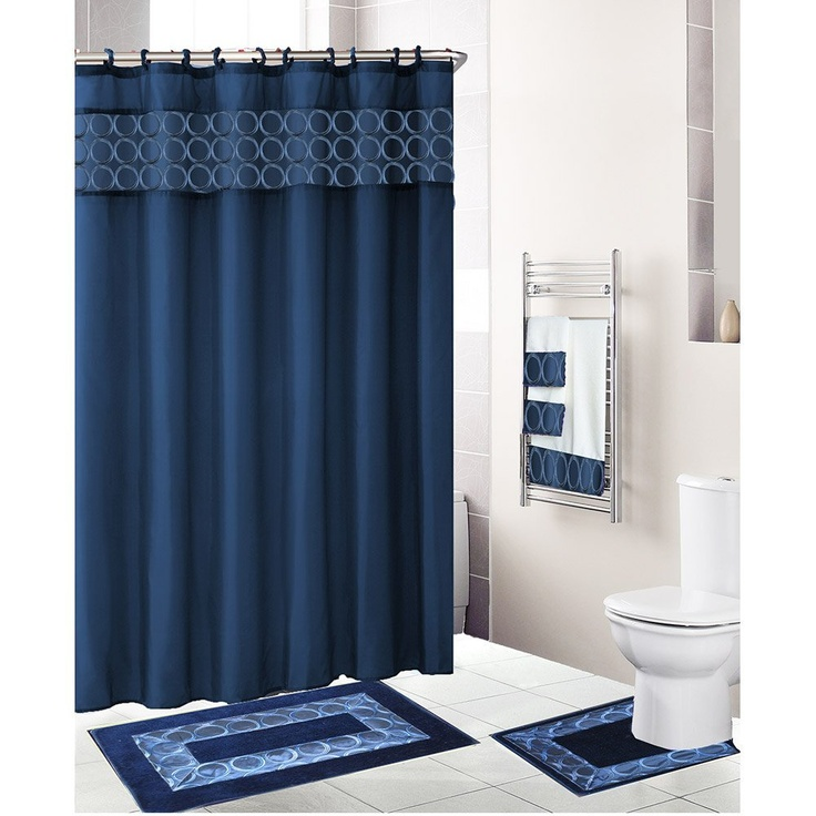 Navy Blue 18 Piece Bathroom Set Fabric Shower Curtain 12 Shower Rings Bath Mat