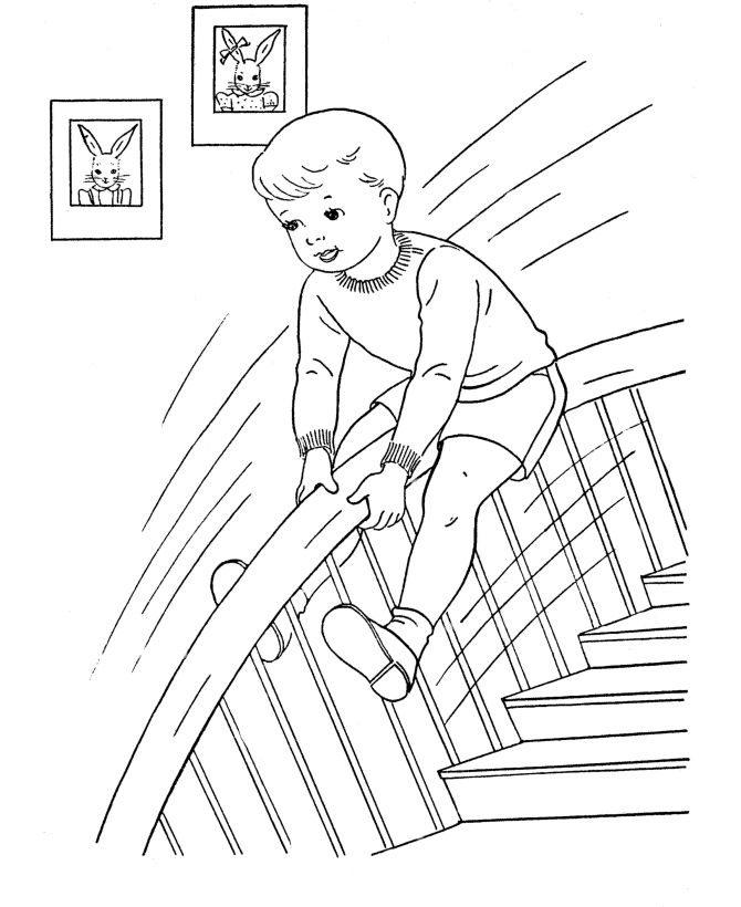 bluebonkers boy coloring pages boy sliding down a stair rail free printable kids coloring sheets for boys