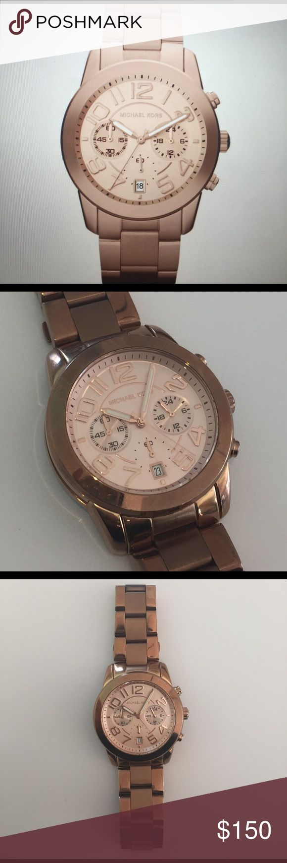 Michael Kors - Ladies Mercer Chronograph Watch Like new. Rose gold boyfriend watch. This watch is made from PVD Rose-Plated Steel. Water resistant. Michael Kors Accessories Watches