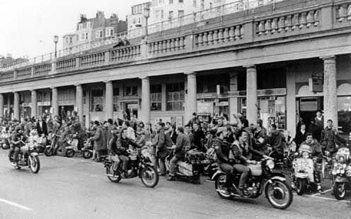 Mods and rockers in Brighton.