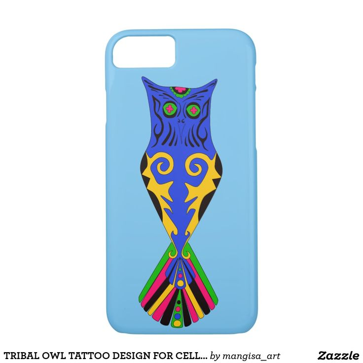 TRIBAL OWL TATTOO DESIGN FOR CELL PHONE CASE/COVER