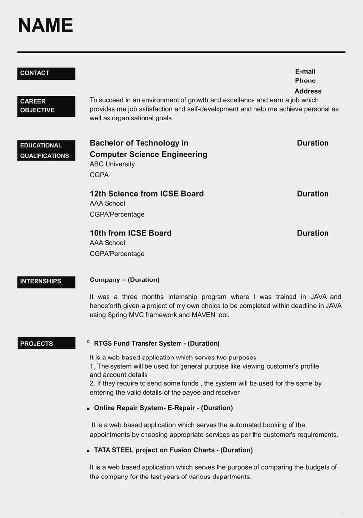 Resume format Pdf Download for Freshers India in 2020