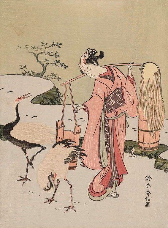 History of Art:The Art of Asia - JAPANESE PRINTS 鈴木春信の美人画。浮世絵。