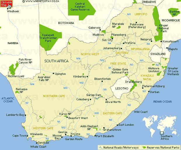 awesome South Africa Map Tourist Attractions