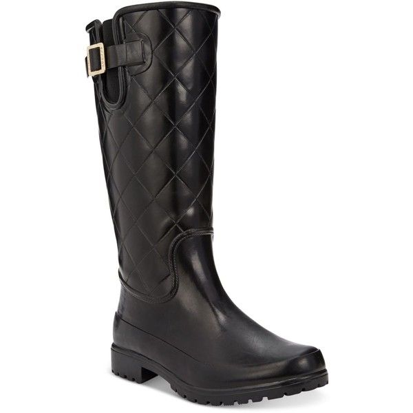 Sperry Women's Pelican Tall Quilted Rain Boots ($80) ❤ liked on Polyvore featuring shoes, boots, black quilted, quilted boots, rain boots, rubber rain boots, sperry shoes and shiny black boots