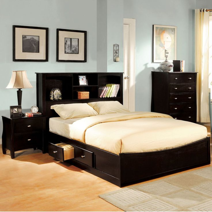This bedroom set is of contemporary design, and features a platform style storage bed with two drawers for extra storage room. Finished in rich espresso with contrasting brushed nickel drawer pulls, this bedroom set is a true contemporary gem.