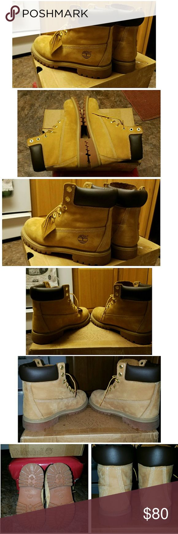 Timberland boots, reasonable offers accepted. Worn with care twice. As you can see in the pics. Still in very good condition with box. This are youths but size 7 in womens. Timberland Shoes Winter & Rain Boots