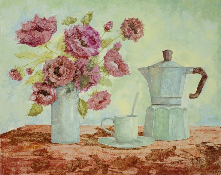 La Caffettiera e i Fiori Amaranto