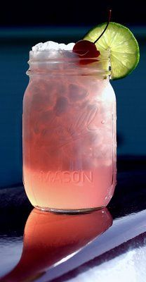 Cherry Limeade: Pink Panties, Summer Drinks, Hot Summer Day, Limeade Recipe, Recipes, Radioact Cherries, Cherries Limeade, Pink Lemonade, Mason Jars