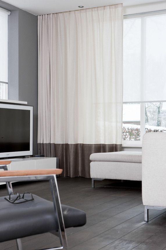 Artelux gordijnen Noa - grijs, naturel, wit. #interieur #raambekleding #gordijnen #wit #streep