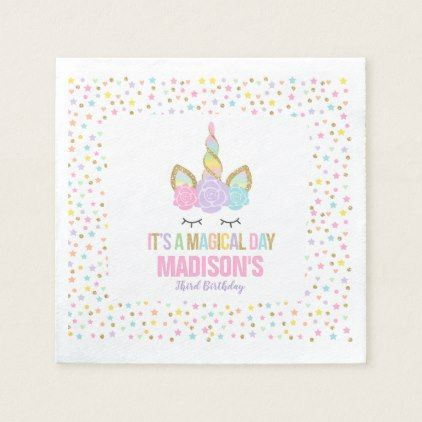 Unicorn Birthday Party Napkin Whimsical Unicorn - birthday diy gift present custom ideas