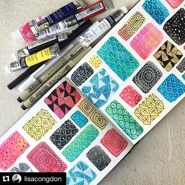 "Original pinner sez: When I saw this, I immediately thought ""PERFECT idea for mini gelli plates""! I'll be printing/stamping in my journal today for sure!! Thanks for the inspiration @lisacongdon #minigelliplates #gelliplate #monoprint #stamping #feelinginspired #color #Repost @lisacongdon with @repostapp. ・・・ From @lisacongdon: Show us what you're creating in my new Sketchbook Explorations class with @creativebug!!"" // tag your images #sketchbookexplorations"
