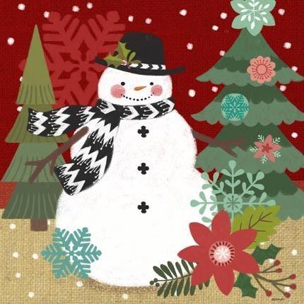 Burlap Chevron Snowman by Jennifer Brinley | Ruth Levison Design