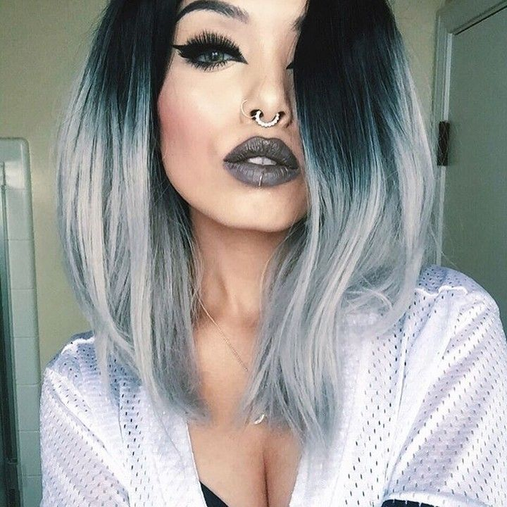 Love your style sooo much  @dahlia.fox looks so stunning in  her grey ombre bob hair from @evahairofficial  How do you like it? Wig sku: SH012 #fashion #evahairofficial #evahair #grey #ombre #grey