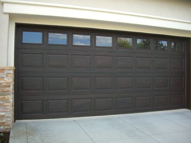 Faux my garage door customer request for dark walnut for Fake wood garage doors