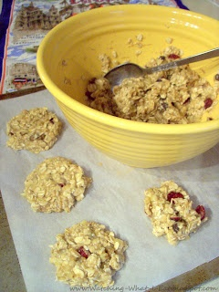 Banana Oat Breakfast Cookies  Made with oatmeal, applesauce, toasted walnuts & raisins. (No flour or sugar!)