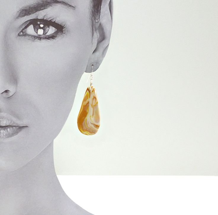 Flat Tear - Gold Marble.  Sterling silver ear hooks. Hand made and unique. $30