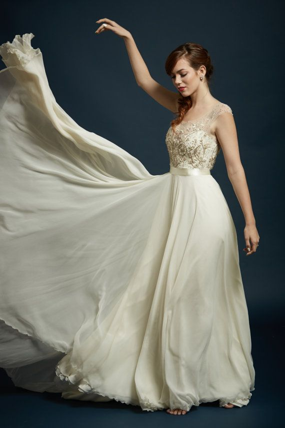 Spectacular Stunning Beaded and Embroidered Illusion Neckline and Full Chiffon Circle Skirt The Sterling Sage with Evalyn basic bodice