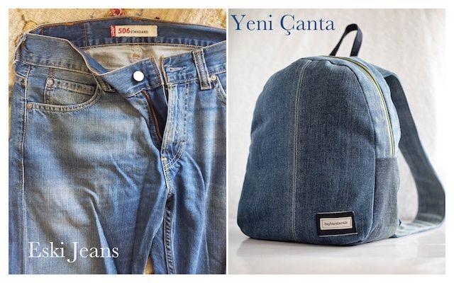 DIY, recycling old jeans, toddler backpack, backpack, eski kot degerlendirme