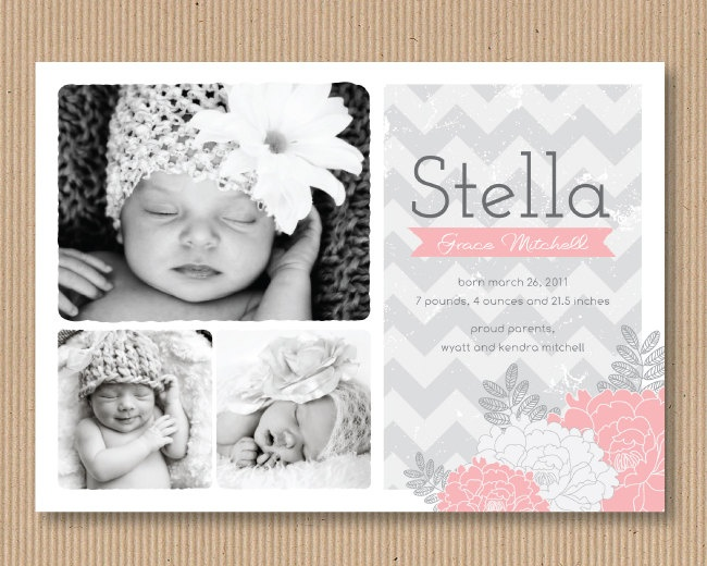 Chevron Girl Birth Announcement