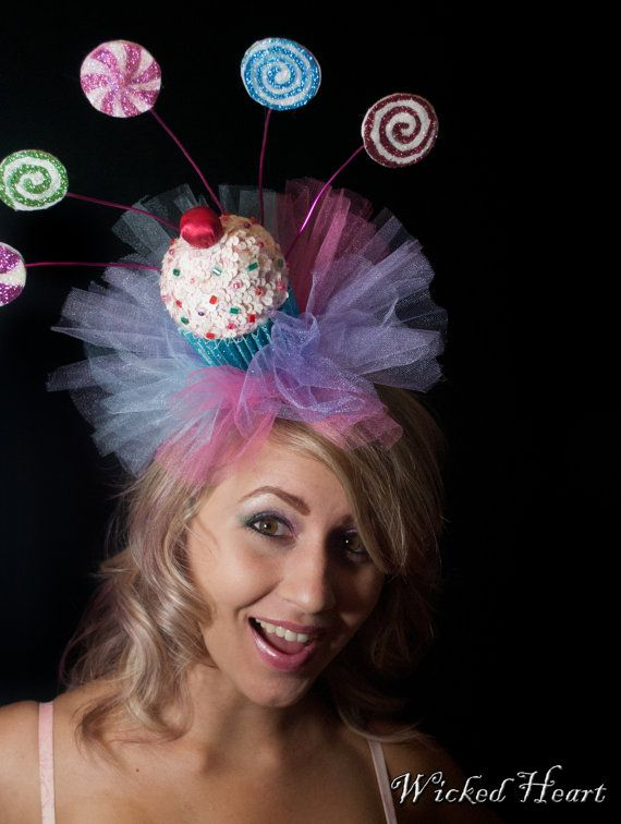 Cupcake Hat Fascinator W/ Lollipops & Sprinkles- Made by Wickedheart on etsy, $57.00