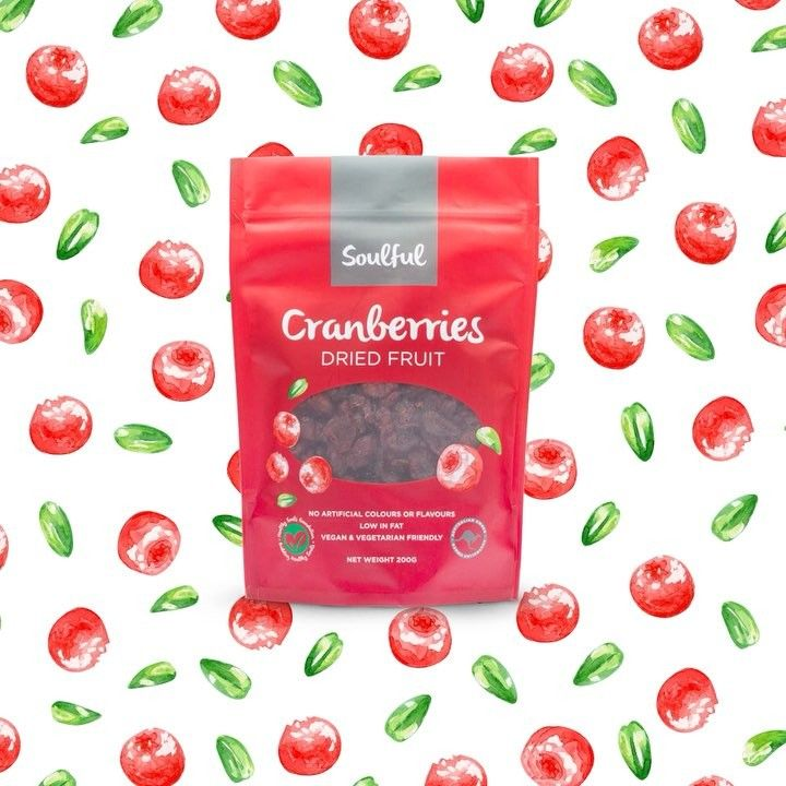 A delicious treat and great for snacking right out of the bag or as a tasty addition to your favourite muffins, cereals, salads or yoghurt! #soulfuldriedcranberries