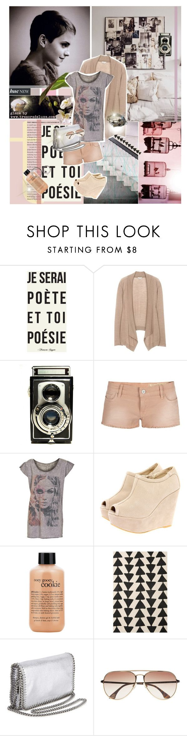 """""""Glaze by Tresors De Luxe"""" by tresorsdeluxe ❤ liked on Polyvore featuring Emma Watson, AllSaints, Athletic Vintage, Boohoo, philosophy, STELLA McCARTNEY, KBL Eyewear, ripped shorts, graphic tees and acid wash shorts"""