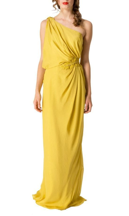 Be the envy of all the Grecian goddesses in this stunning evening gown by Aurelio Costarello. This full length dress features an asymmetric shoulder; a billowing top gathered at the waist and embellished with an embroidered motif; and a bias cut skirt. Team yours at your next special event with an elegant heel and clutch. Asymmetric shoulder Gathered waist with embroidered motif Bias cut Full length The full length of this dress measures 170cm from shoulder to hem.