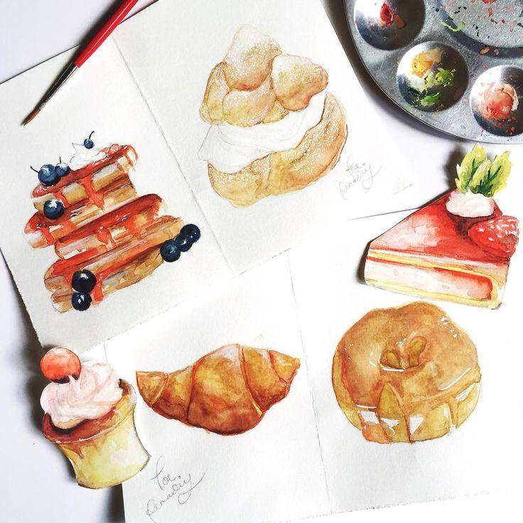 part 2; Sweet Treats! 🍩🍰 More illustrations on my steller!✨ #watercolor #drawing #illustration #poerenadie