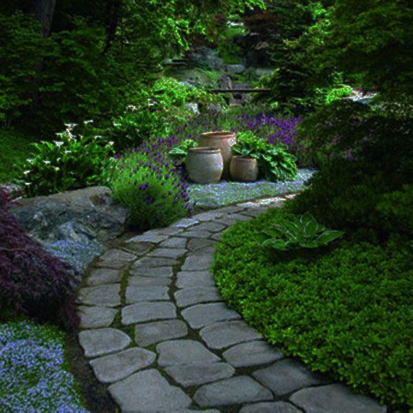 nice garden path: Gardens Ideas, Gardens Paths, Garden Paths, Modern Gardens Design, Stones Pathways, Stones Walkways, Stones Paths, Landscape, Gardens Pathways