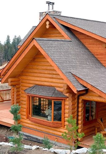 Log home exterior pinterest home log homes and bays for Log cabin window