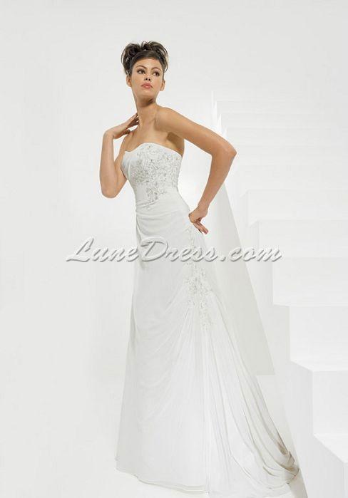 strapless chiffon a-line sleeveless embroidery floor-length wedding dress - Lunedress.com