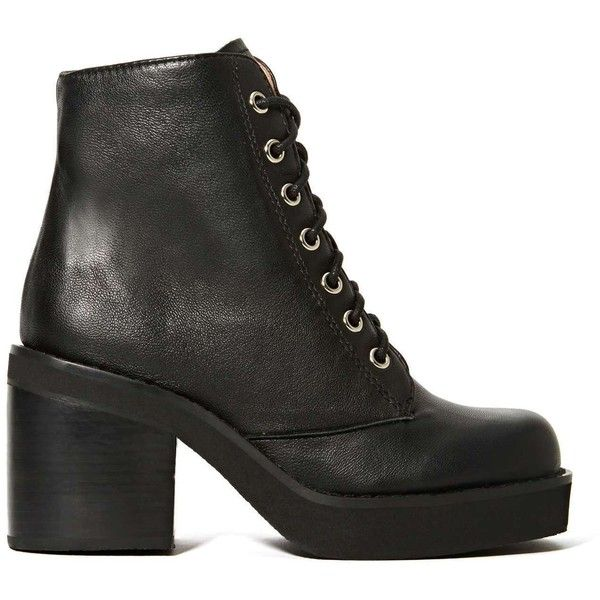 Jeffrey Campbell Tristan Boot (121 CAD) ❤ liked on Polyvore featuring shoes, boots, ankle booties, black, black ankle booties, platform booties, lace up platform booties, lace up high heel booties and lace up combat boots