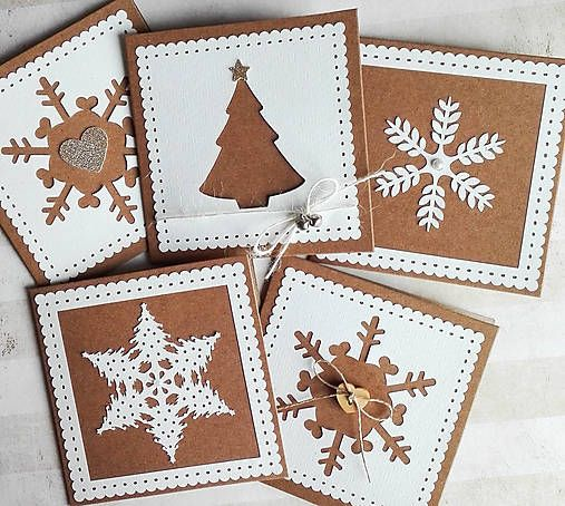 jane_made / snehové perníčkové vianočné pozdravy - 5 ks