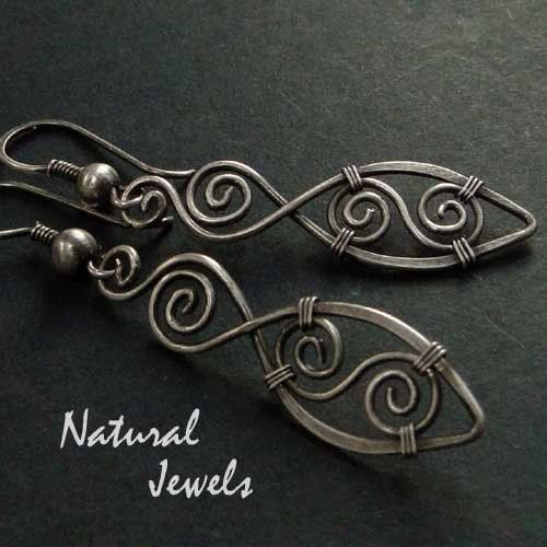 Spiral Feathers  925 Sterling Silver Earrings by NaturalJewels, €24.50