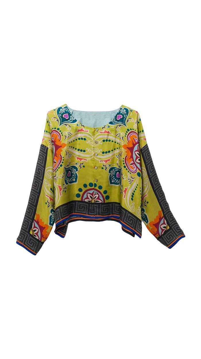 Shirts : Shirt Lang Évora from tmcollection.com yum! gorgeous print makes this