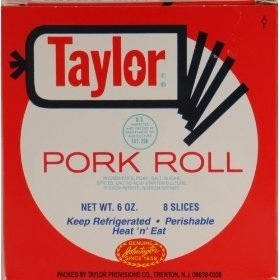 Grilled Taylor pork roll with cheese. On a toasted bun. With onion rings. Preferably at Minella's.