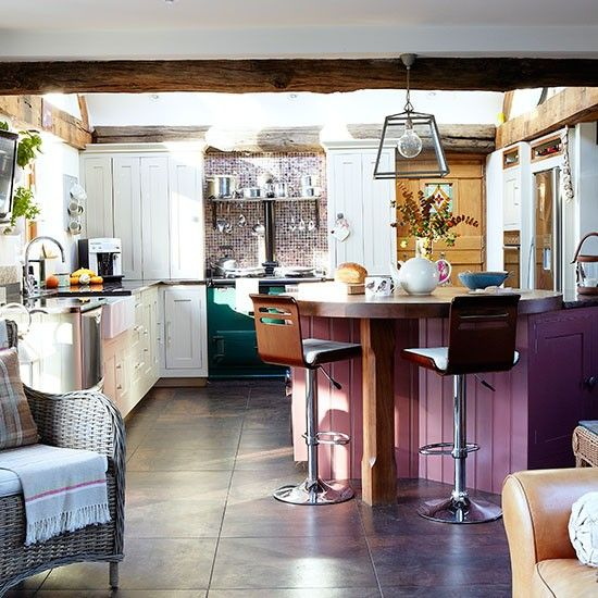 White country kitchen with hits of purple and green | Kitchen decorating | Country Homes & Interiors | Housetohome.co.uk