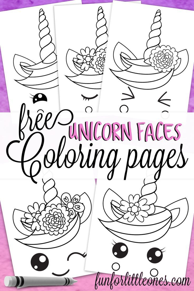 Unicorn Faces Coloring Pages for