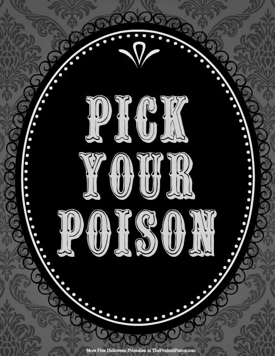 free halloween printables including pick your poison free halloween printable from the prudent patron via printable decor